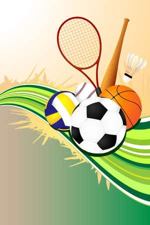 pelota de voley: Una ilustraci�n vectorial de fondo de deportes de pelota