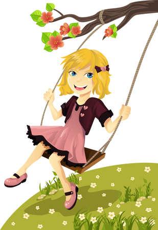 Een vectorillustratie van een schattig meisje op een schommel buiten