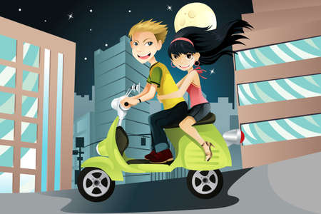 A vector illustration of a couple riding a motorcycle in the city on an evening Vectores