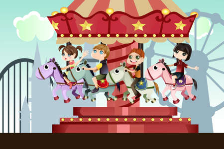 A vector illustration of children playing merry go round in an amusement park