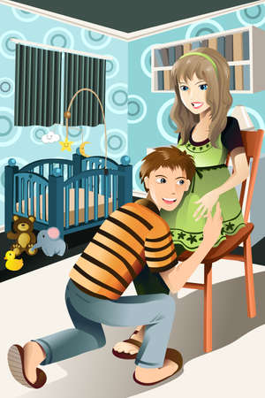 A vector illustration of a happy pregnant couple at home