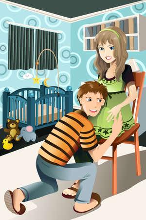buikje: Een vector illustratie van een gelukkige zwangere paar thuis
