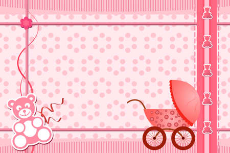 A vector illustration of a baby shower greeting card for a girl