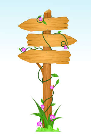 A vector illustration of a wooden direction sign Stock Illustratie