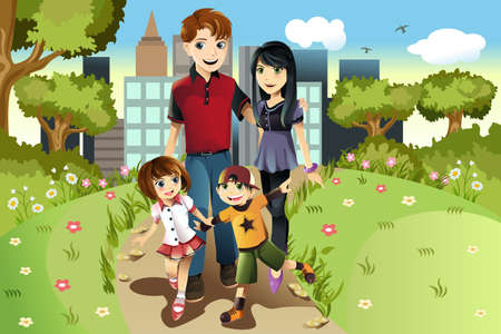 happy family outdoor: An illustration of a family walking in the park