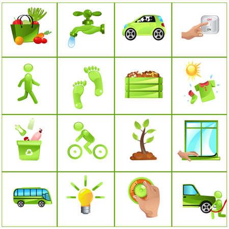 이동 녹색 개념의 벡터 일러스트 레이 션 : 가정, 대중 교통, 변화 전구를 절연, 새는 수도꼭지, 카풀을 해결, 지역 농산물을 구입 빛을 끄고, 외부 더,  일러스트