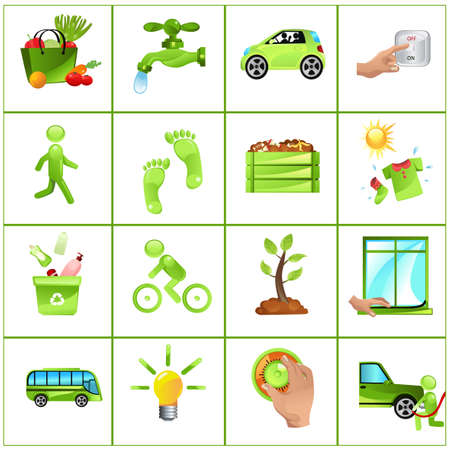 Vector illustration of GO GREEN concept: buy local produce, fix leaky faucets, carpool, turn off light, walk more, compost, dry clothes outside, recycle, ride a bike, plant tree, insulate home, public transportation, change light bulb, adjust thermostat,  Vector
