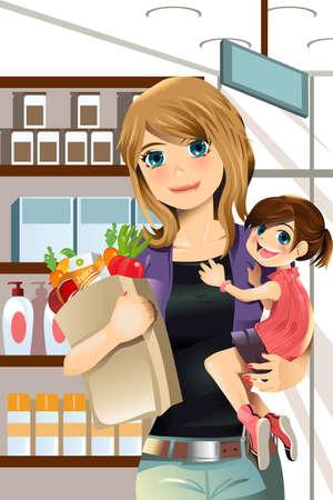 mujer en el supermercado: Una ilustración de una madre y una hija va grocery shopping