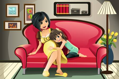An illustration of a pregnant mother with her daughter in the living room Vector