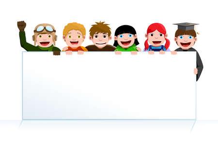 Una ilustración vectorial de un grupo de niños con una Junta de cartel en blanco Foto de archivo - 9819344