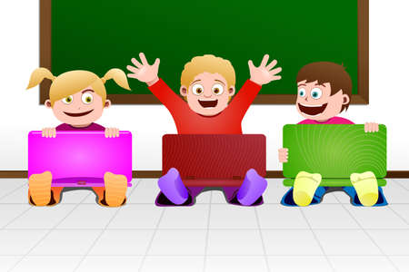 A vector illustration of children with laptops in the classroom