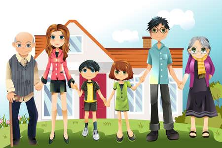 Een illustratie van een multi-generatie familie in voorkant van het huis