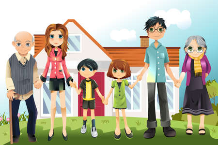 A illustration of a multi generation family in front of the house