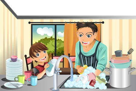 A illustration of a father and his son washing dishes in the kitchen