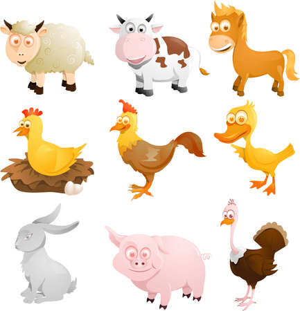 A illustration of a group of farm animals Ilustração