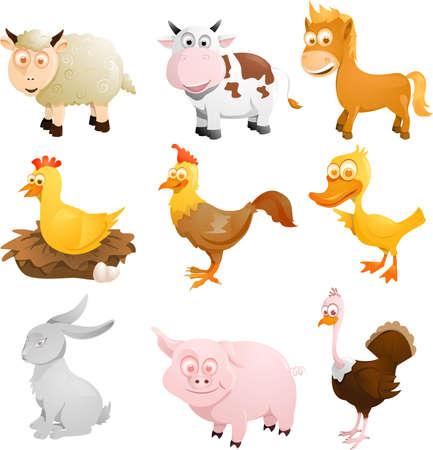pollo caricatura: Una ilustraci�n de un grupo de animales de granja Vectores
