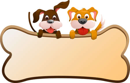 A illustration of two dogs holding a banner