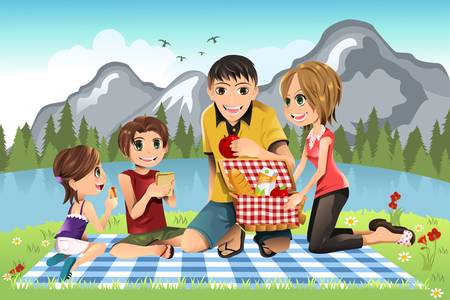 A illustration of a family having a picnic in a park Çizim