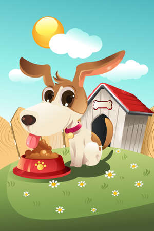 A vector illustration of a dog eating in front of the doghouse Stock Vector - 9931368