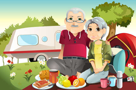 A illustration of senior couple camping and having a picnic Ilustração