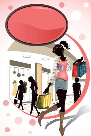 A illustration of people shopping in a mall Stock Vector - 9931364