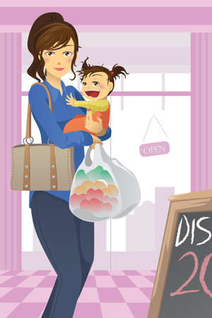 mom daughter: A illustration of a mother and a daughter going grocery shopping Illustration
