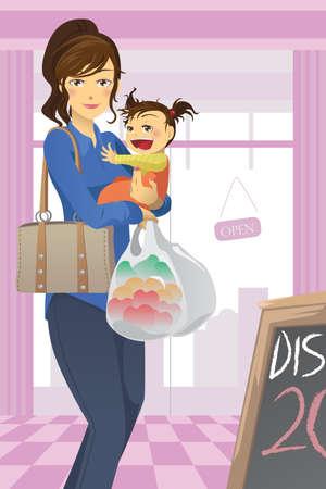 mama e hija: Un ejemplo de una madre y una hija va grocery shopping