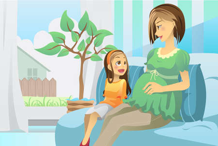 A illustration of a pregnant mother with her daughter in the living room