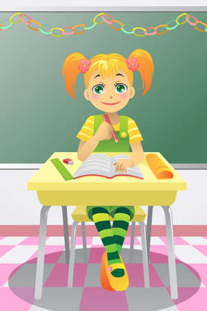 A illustration of a student studying in the classroom