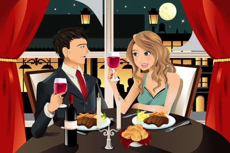 A vector illustration of a young couple having dinner at an upscale restaurant