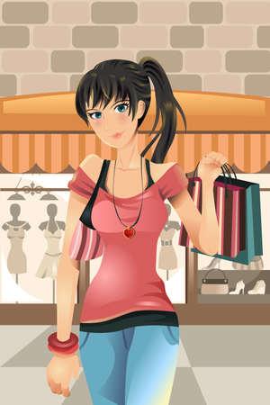 moda urbana: Una ilustraci�n vectorial de una mujer de compra en el centro comercial