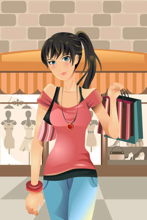 clothes cartoon: Une illustration de vecteur d'une femme du shopping au centre commercial