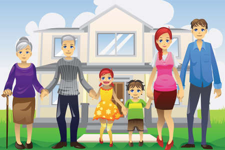 A vector illustration of a multi generation family in front of the house Vector