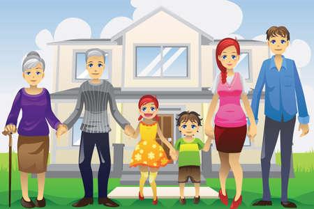 grandmother children: Una ilustraci�n vectorial de una familia de generaci�n multi delante de la casa
