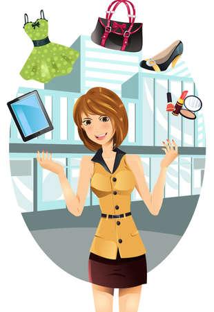 comprando zapatos: Una ilustración vectorial de una hermosa mujer de compra malabarismo sus compras artículos