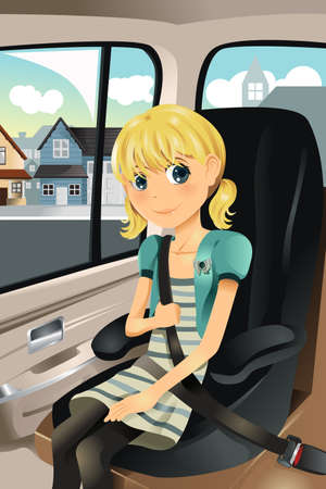 booster: A vector illustration of a cute girl sitting on a car seat wearing seat belt