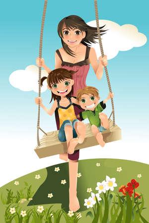 Een vector illustratie van drie broers en zussen, een broer en twee zussen spelen swing