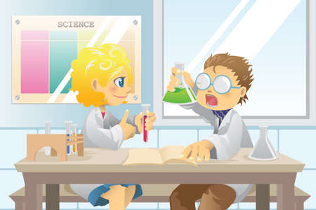 과학 프로젝트에 과학 수업의 작업에 학생들의 벡터 일러스트 일러스트