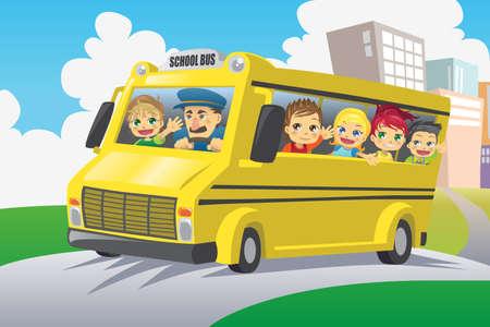 Una ilustración vectorial de niños que viajaba en un autobús escolar Ilustración de vector