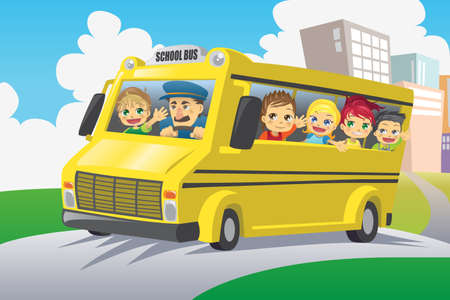 chofer de autobus: Una ilustración vectorial de niños que viajaba en un autobús escolar Vectores
