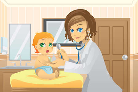 A vector illustration of a pediatrician examining a baby in the doctor office