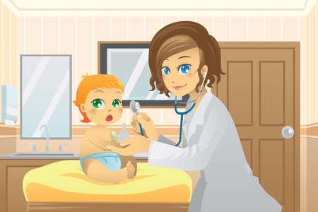 pediatra: Una ilustración vectorial de una pediatra examinar a un bebé en el consultorio Vectores