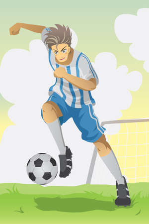 A vector illustration of a soccer player running and kicking a ball Çizim
