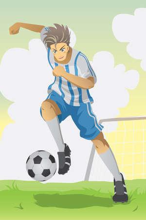 Een vectorillustratie van een voetballer uitgevoerd en het schoppen van een bal