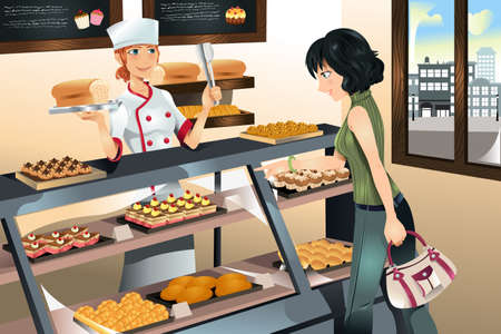 shops: illustration of a woman buying cake at a bakery store Illustration