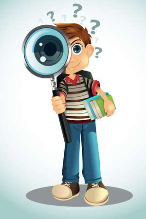 magnifying glass:  illustration of a student holding a magnifying glass and books