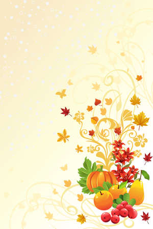 thanksgiving leaves:  illustration of an Autumn or Fall season background Illustration