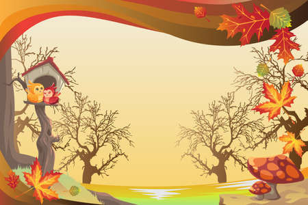 illustration of Autumn or Fall season background Ilustração