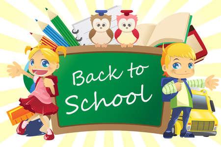 cartoon school girl: Ilustraci�n de un regreso al fondo de escuela Vectores