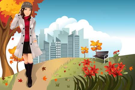 가을 또는 가을 소녀의 그림은 공원에서 산책